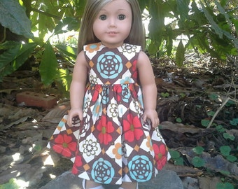 american girl doll abstract floral dress