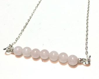Rose Quartz bar necklace, gemstone bar necklace, rose quartz necklace, pink stone necklace, bar necklace, gift for her