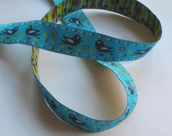 Web band 20 mm - birds / turquoise - Singing birds