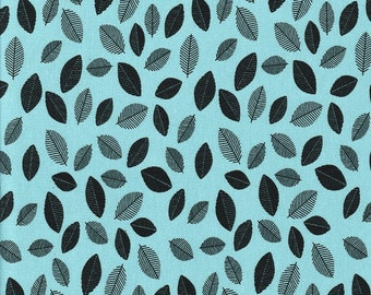 Jersey - leaves - turquoise