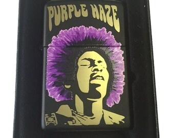 Zippo Custom Lighter - Jimi Hendrix Rock Star Purple Haze - Black Matte ZP - AH - 218-CI402373