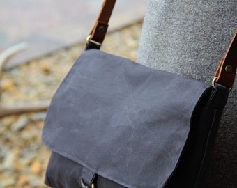 black waxed canvas messenger - waxed canvas tote - waxed canvas messenger
