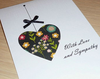 With Love and Sympathy card - Bereavement greeting card - handmade greeting card - flowers floral