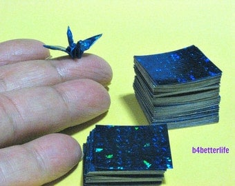 """300 Sheets Blue Color 1-inch Origami Crane Paper Folding Kit. 1"""" x 1"""". (4D Glittering paper series). #CRK-80."""