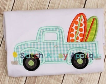 Surf Truck Summer Machine Applique Design