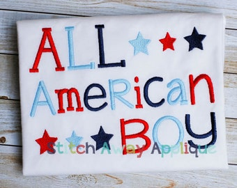 All American Boy Patriotic Fourth of July Machine Embroidery Design