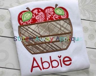 Fall Autumn Apple Basket Machine Applique Design
