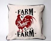 Farmhouse Pillow Cover - Rooster Chicken Farm home decor