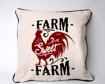 Farmhouse Pillow Cover - Rooster Chicken Farm home decor