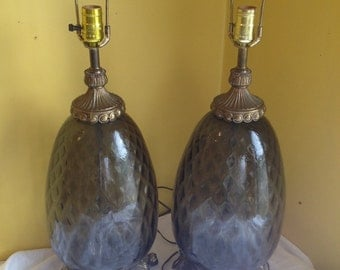 Pair of Hollywood Regency Smoke Gray Glass and Brass Lamps