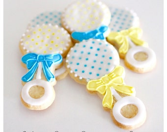 Half Dz. Baby Rattle Cookies! MULTIPLE Photos! Customized Rattles, baby showers, favors and gifts!