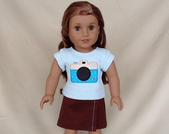 Camera T-Shirt and Skirt for American Girl/18 Inch Doll