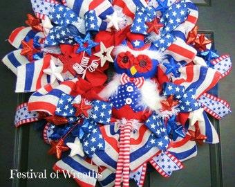 Patriotic Mesh Door Wreath - Red White and Blue Wreath - July 4th Wreath -  Patriotic Mesh Wreath - Patriotic Front Door Wreath