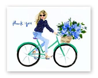 Nantucket Bike Girl Thank You Cards