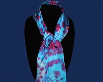 Red Blue-Violet Silk Scarf -  tie dye blue silk scarf, gift under 20
