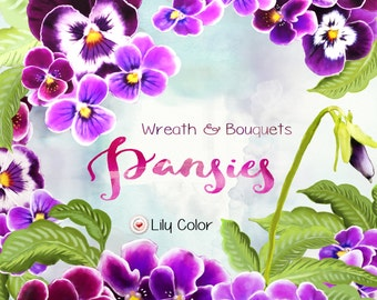 Wreath & bouquets / Pansies /  High Quality 300ppi / Big size / PNG.