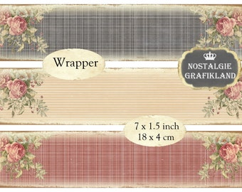Shabby Chic Wrapper Instant Download digital collage sheet E067 roses check strips
