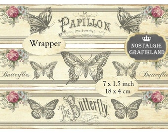 Butterfly Soap Wrapper Butterflies Papillon Printable Wrapping Instant Download digital collage sheet E134