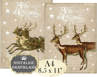 Christmas Reindeer Noel A4 Instant Download digital collage sheet A105