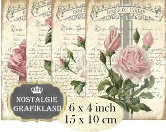 Roses Vintage printable digital Flowers Jardiniere Garden 6 x 4 inch Instant Download digital collage sheet D230