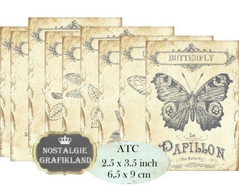 Butterfly Dragonfly Bee Roses Vintage Label Iron on Fabric printable Instant Download ATC digital collage sheet S201