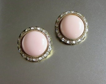 "Pink Earrings, Vintage, Channel Set Pale Pink Lucite & Rhinestones, UFO Dome Flying Saucer Earrings, ""Keep Watching the Sky!"""