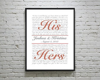 Personalized Wedding Vows Art | Wedding Vow Keepsake | Wedding Anniversary Gift | Gift for Bride & Groom | Wedding Gifts for Couple
