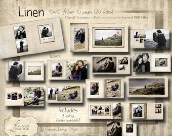 10x10 Album template for photographers - Linen Album