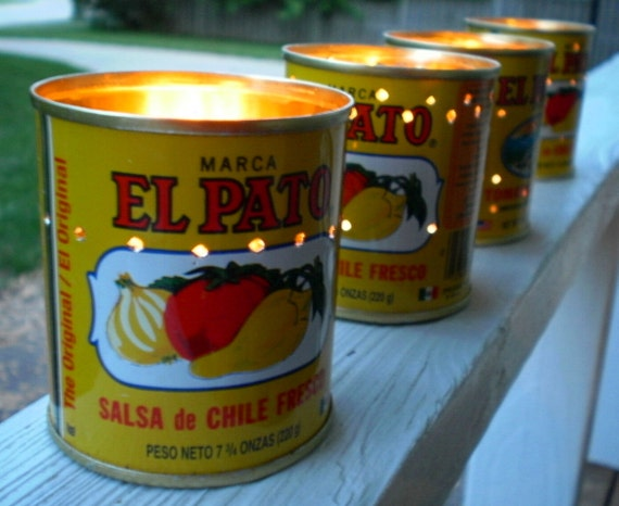 Halloween Decorations Candle Votives El Pato Mexican Tin Cans Set
