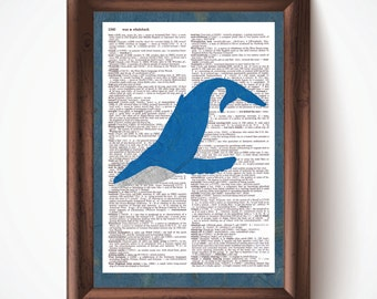 Blue Whale Defined Dictionary Page Print from Pastel Drawing