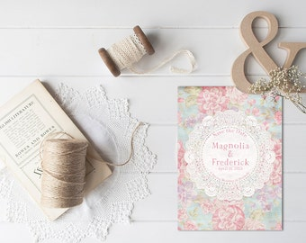 Save The Date Cards for Shabby Chic Weddings / Pastel Blue and Pink Flowers Vintage Doily / PRINTED 5x7 Save-The-Date Card by The Roche Shop