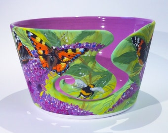 Buddleia Butterflies and Bees yarn bowl.