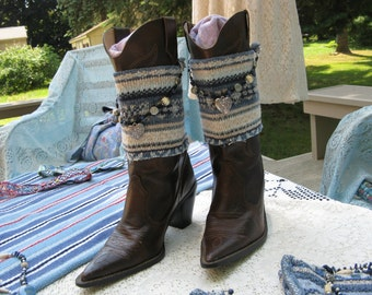 Cowgirl Blue Fair Isle Knit Beaded Boot Cuffs