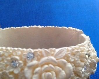Now On Sale Vintage Ivory Celluloid Rhinestone Carved Floral Clamper Bracelet Vintage Jewelry Celluloid Cuff Bracelet Roses