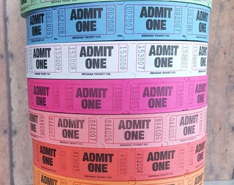 50 Numbered Admit One Carnival Tickets In Bold Letters, Movie Party Tickets, Circus Theme Party, Baseball Birthday Party