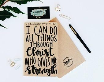 Philippians 4:13 - Moleskine Kraft Journal, Hand-lettered, Modern Calligraphy, Prayer Journal