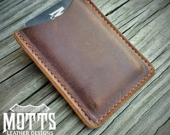 """The """"Clipper"""" Pocket Wallet with money clip in chocolate pull-up leather."""