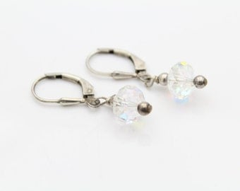 Small Handcrafted Crystal AB Dangle Earrings In Sterling Silver Leverbacks. [10661]