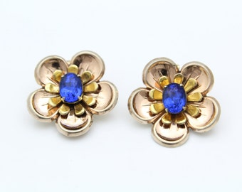 Vintage Two-Tone Flower Clip-On Earrings with Blue Rhinestones in Sterling. [8143]