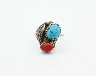 Small Navajo Handcrafted Ring in Coral and Turquoise and Sterling Silver Size 6. [9845]