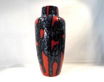 Large Ceramic Vase Sixties Fat Lava Glaze Scheurich West German Pottery