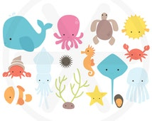 Under the sea clip art pack - Ocean clipart with sea animals images: octopus, squid, sea horse, turtle, clownfish, blowfish - PNG files