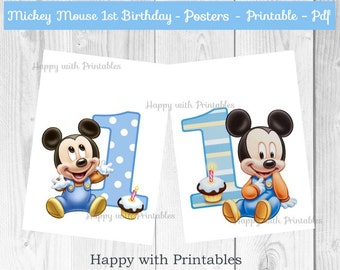 Mickey Mouse 1st bday Posters - Baby Mickey Mouse Posters - Mickey Mouse party - Mickey Mouse 1st birthday - Baby Mickey