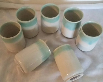 Set of 7 Stoneware Pottery Tumblers by Bill Wilson 1979