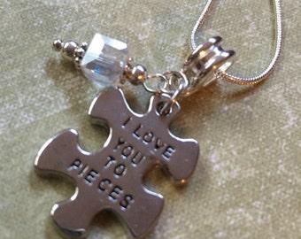 Puzzle Piece I Love You To Pieces Necklace Sparkling Glass Square Bead Charm Pendant ASD Autism