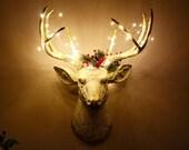 Faux Taxidermy Deer Head Stag Buck Head Wall Hanging Christmas Decor Rustic Trophy Animal Antler Bedroom Kitchen Den Sculpture-MySecretLite