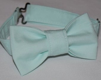 Adjustable mint green bow tie for baby, toddlers and boys. Adjustable mint green bowtie for Easter, weddings, or photos. Ring bearer bow tie