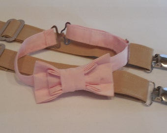 Pale Pink bow tie and tan suspender set. Pink bow tie and tan suspender set for baby, toddler, and boys. Perfect wedding accessory!