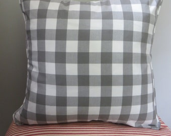 """Gray Gingham Custom Pillow Cover w/Piping and Invisible Zipper: 1""""  Gray & White Gingham"""