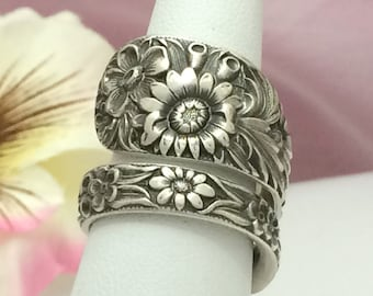 Wildflowers Sterling Silver Spoon Ring, REPOUSSE Size 8 - 13 Custom, Repurposed Kirk 1828 Antique Silverware Jewelry Gift